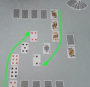 Example of valid continuous chains in the game Chain, our original two player card game