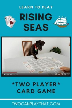 """Rising Seas is a two player card game that uses a standard deck of cards - perfect for a spontaneous date night! It is a very unique game, and is good for strategic minded people. The aim is to collect more cards than your opponent by creating chains of four or more cards around the outside of the """"island""""."""