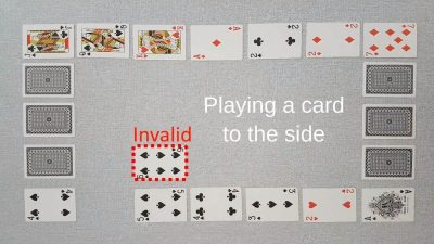 Example of an invalid move in our original two player card game Chain - playing a card to the side