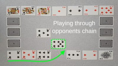 Example of a valid move in our original two player card game Chain - playing through your opponent's chain