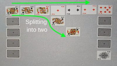 Example of a valid move in our original two player card game Chain - splitting chain into two