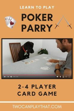 Poker Parry is a card game that uses a standard deck of cards. It is best with two players, so is perfect for date night. It is has elements of both Poker and Rummy. The aim is to complete more, and better poker hands than your opponent, before the deck runs out.