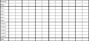 Scoresheet for Sudoku Poker, one of our original two player card games